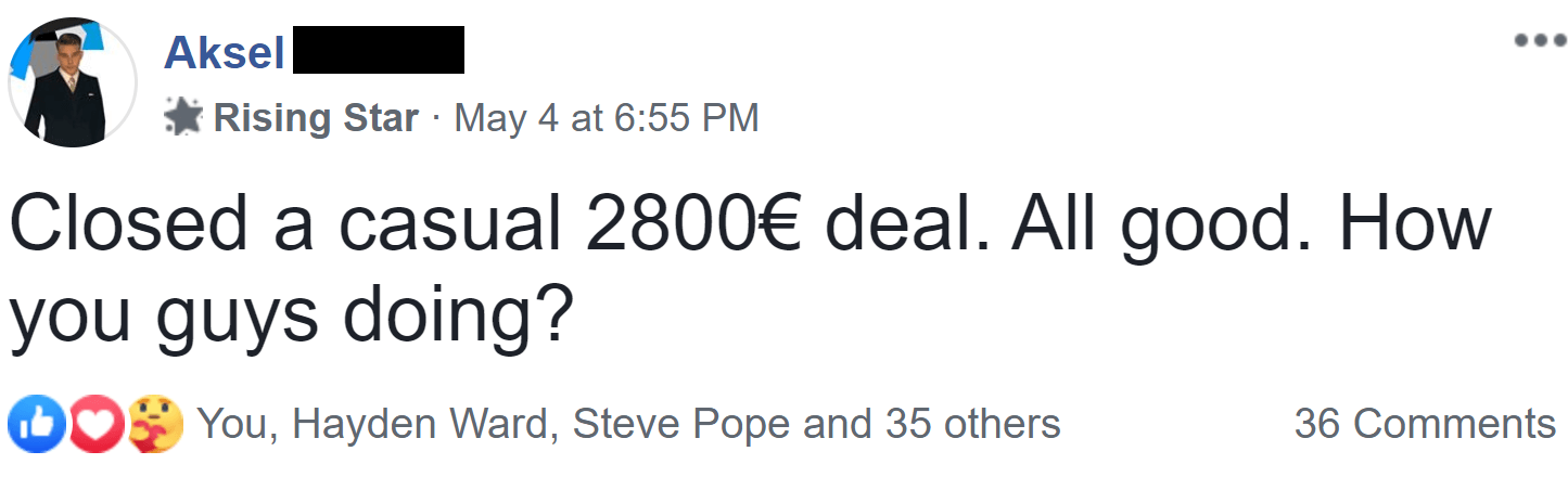 Aksel closing a deal